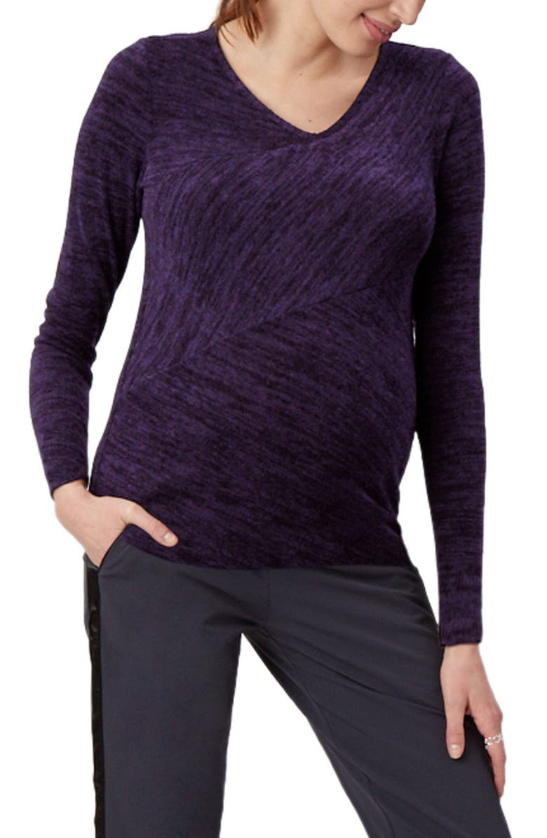 STOWAWAY COLLECTION Directional Knit Maternity Top, Main, color, CONCORD