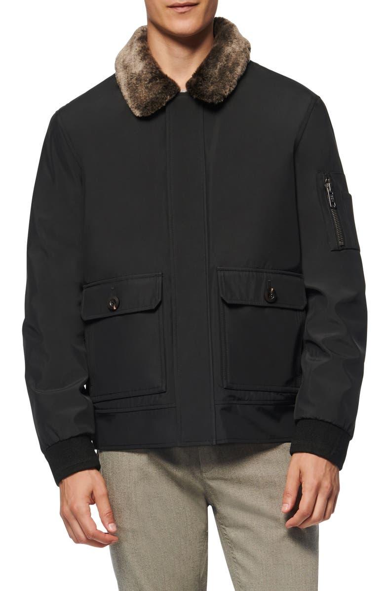 MARC NEW YORK Kingshill Faux Fur Collar Aviator Jacket, Main, color, BLACK