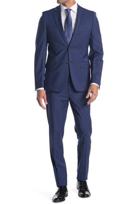 Image of Calvin Klein Blue Solid Two Button Notch Lapel Suit
