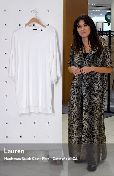 Ruffle Sleeve High/Low Cotton T-Shirt Dress, sales video thumbnail