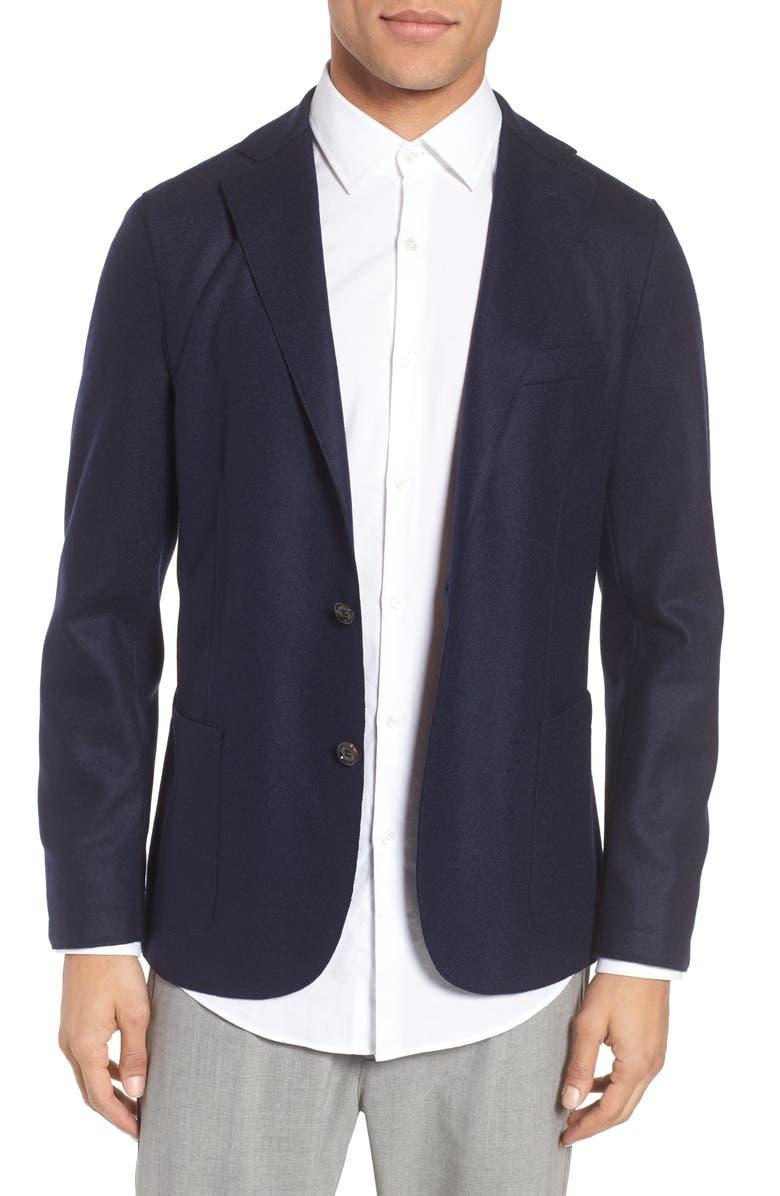ELEVENTY Wool Blend Blazer, Main, color, NAVY
