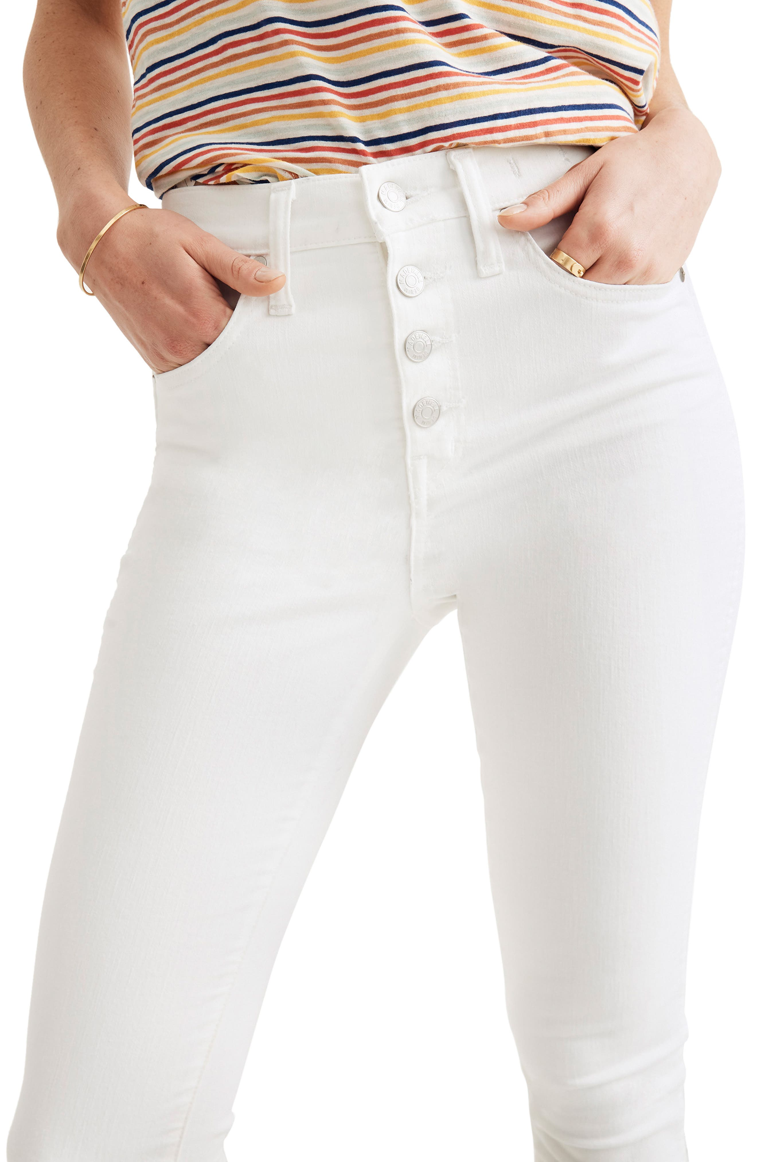 ,                             10-Inch High Waist Button Front Ankle Skinny Jeans,                             Alternate thumbnail 6, color,                             PURE WHITE