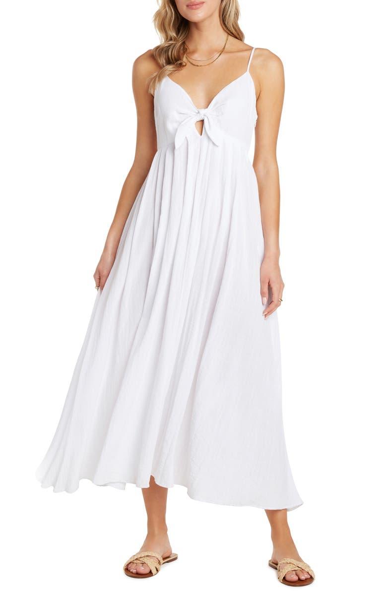 WILLOW Rochelle Tie Front Midi Sundress, Main, color, WHITE