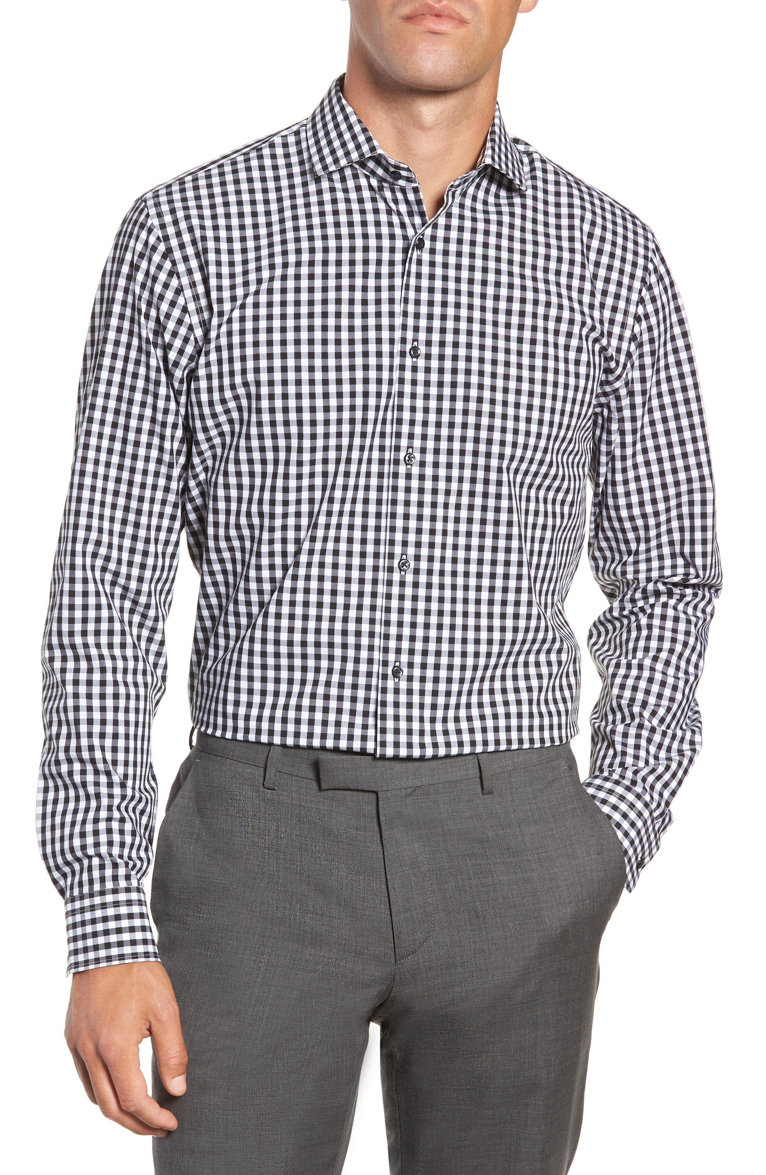 ,                             Tech-Smart Trim Fit Stretch Check Dress Shirt,                             Main thumbnail 1, color,                             001
