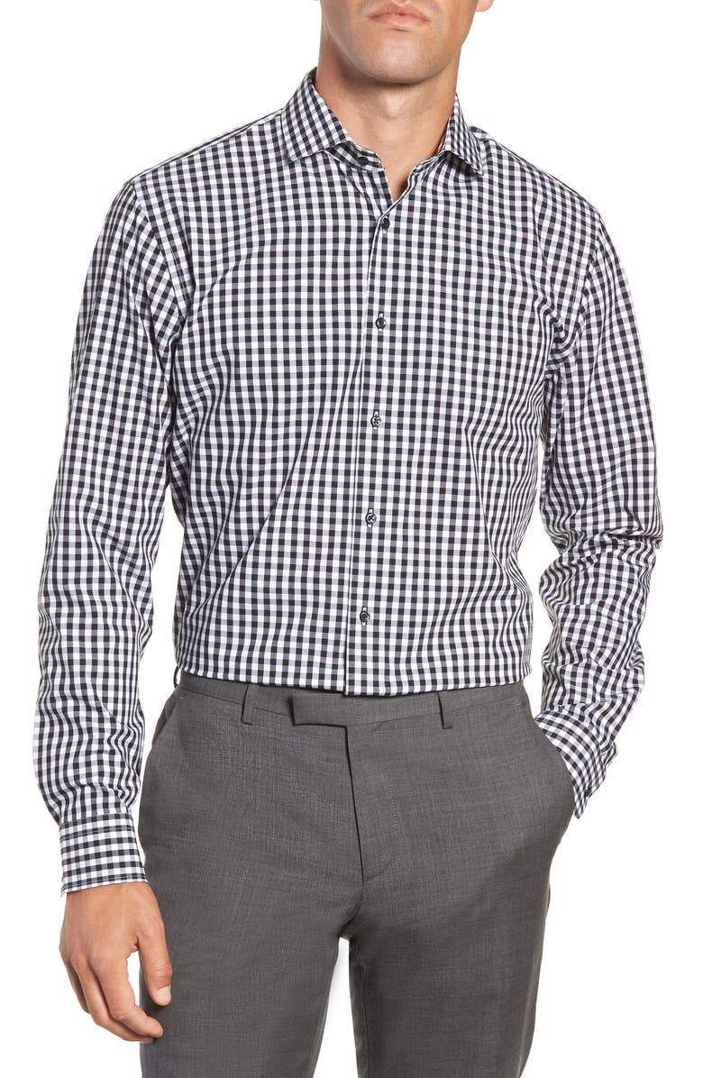 NORDSTROM MEN'S SHOP Tech-Smart Trim Fit Stretch Check Dress Shirt, Main, color, 001