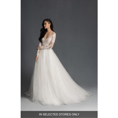 Hayley Paige Mulan Embroidered Tulle Long Sleeve Wedding Dress, Size IN STORE ONLY - Ivory