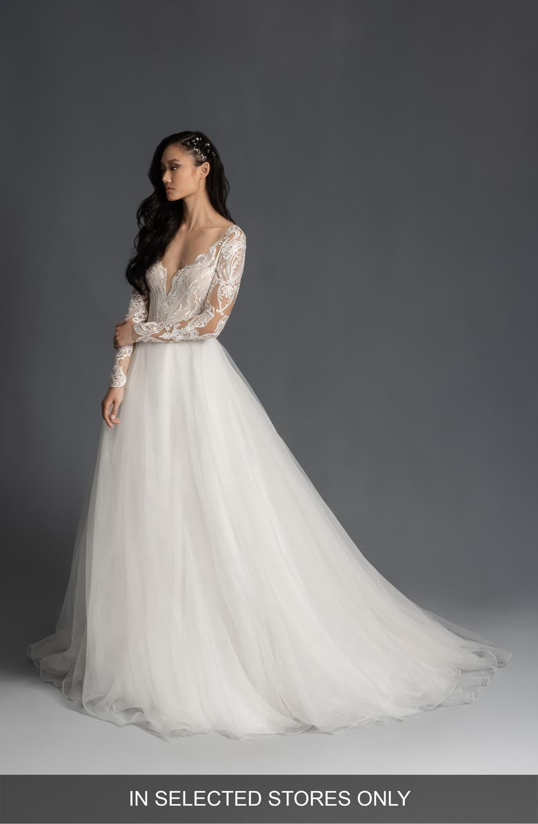 HAYLEY PAIGE Mulan Embroidered Tulle Long Sleeve Wedding Dress, Main, color, IVORY
