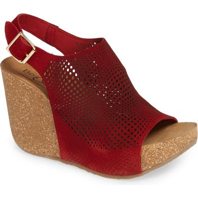 Bos. & Co. Savona Wedge Sandal, Red