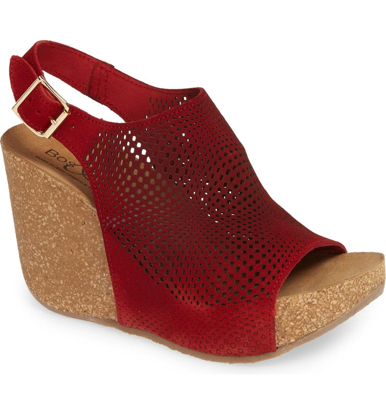 BOS. & CO. Savona Wedge Sandal, Main, color, RED SUEDE