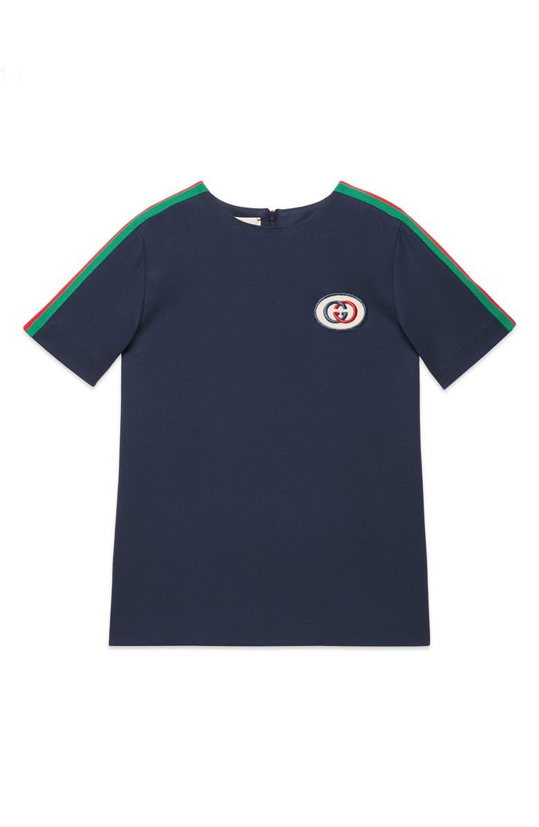 GUCCI Embroidered Stripe Tunic, Main, color, COBALT