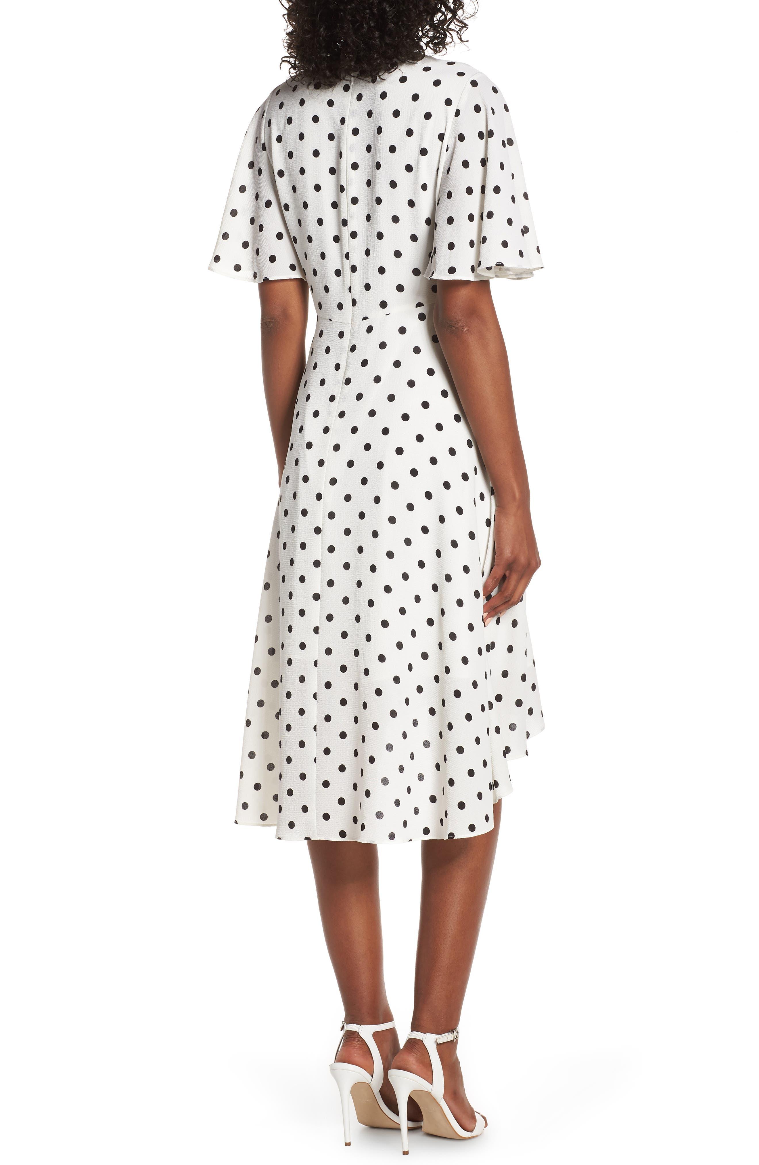 ,                             Dot High/Low Fit & Flare Dress,                             Alternate thumbnail 2, color,                             BLACK/ WHITE
