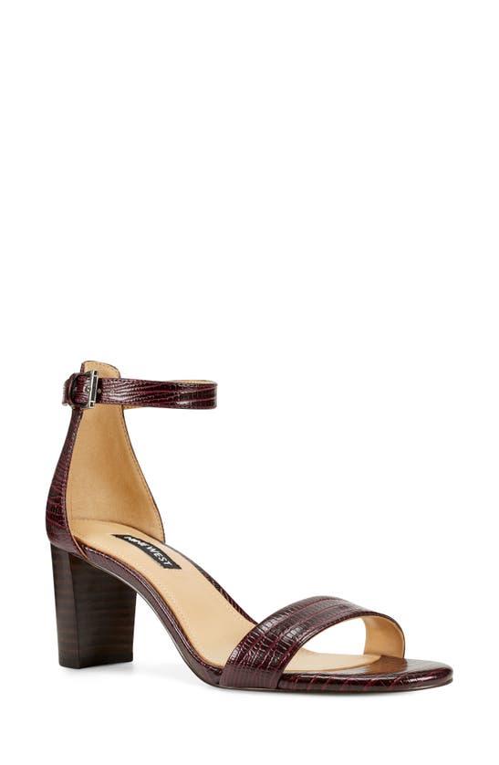 Nine West Women's Pruce Ankle Strap Block Heel Sandals Women's Shoes In Bordo Lizard
