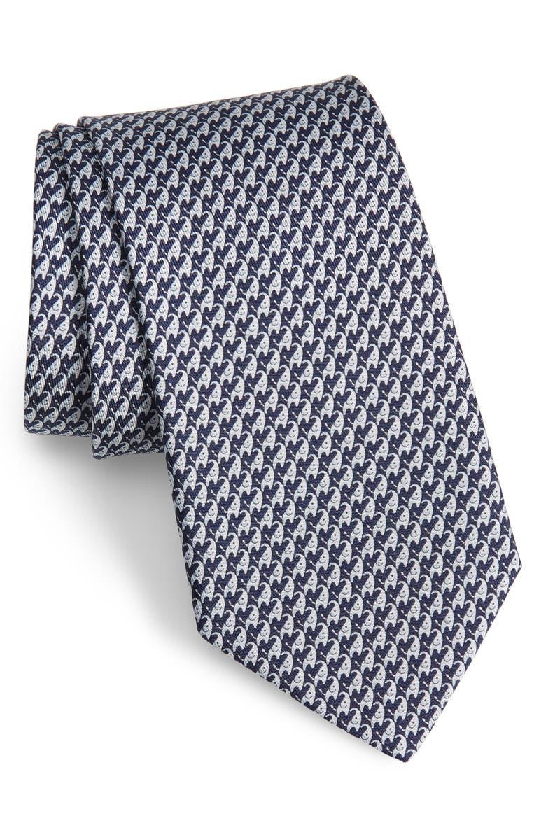 SALVATORE FERRAGAMO Irvin Elephant Print Silk Tie, Main, color, F. NAVY/ GREY
