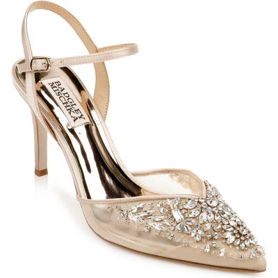 Badgley Mischka Opal Crystal Embellished Pointed Toe Pump, Beige