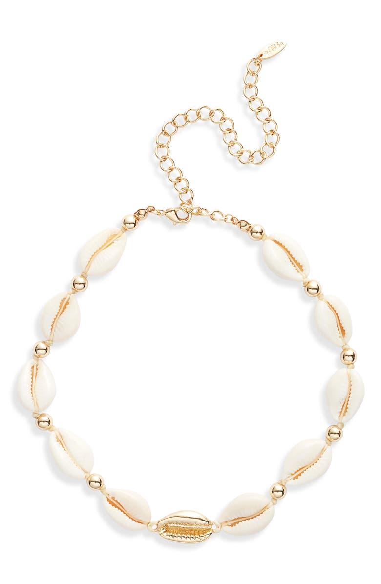 ETTIKA Shell Collar Necklace, Main, color, WHITE