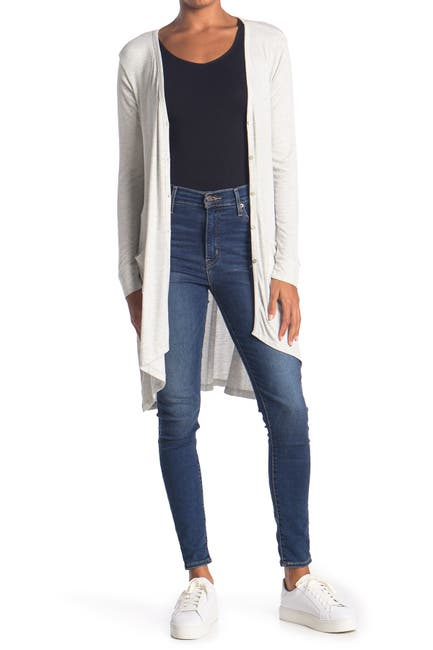 Image of Bobeau Button Front Ribbed Knit Cardigan