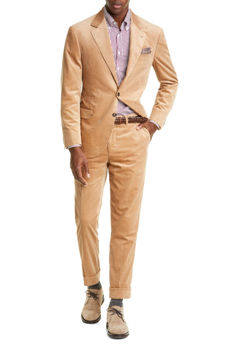 BRUNELLO CUCINELLI Sea Island Corduroy Suit, Main, color, CAMEL