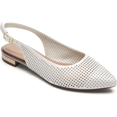 Rockport Adelyn Perforated Slingback Flat W - White