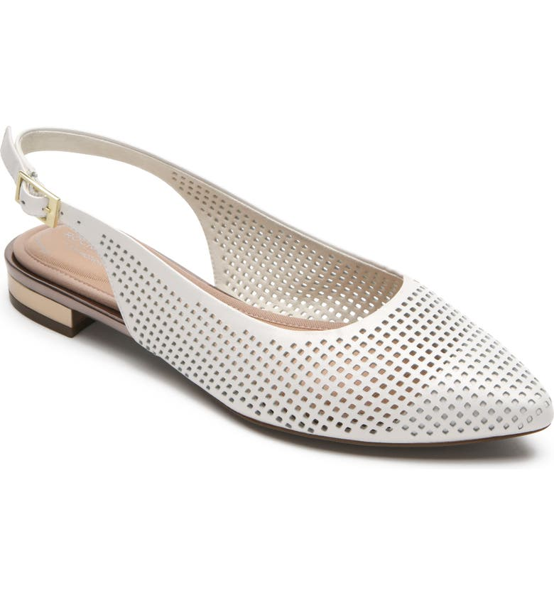 ROCKPORT Adelyn Perforated Slingback Flat, Main, color, WHITE PATENT LEATHER