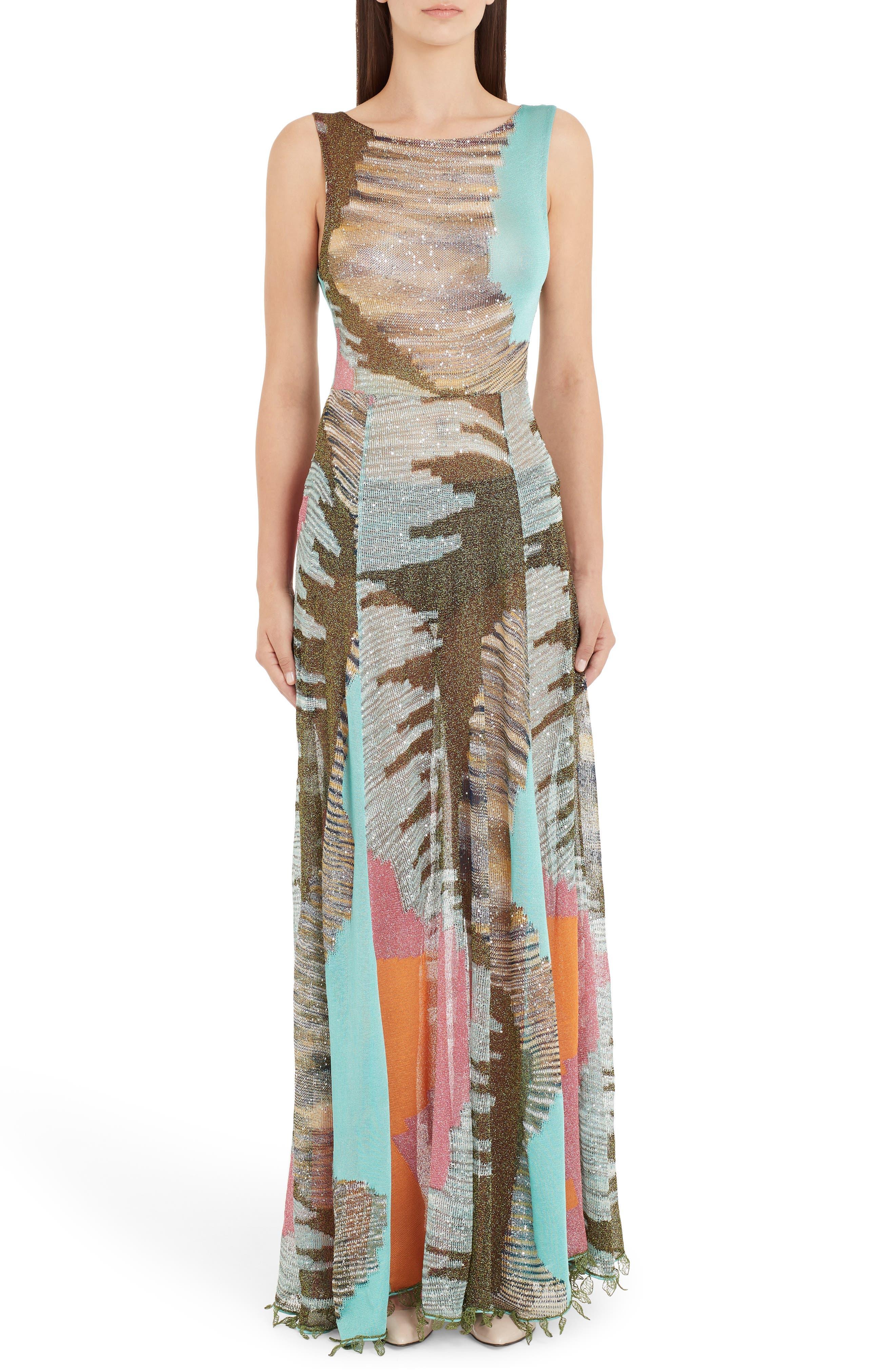Missoni Sequin Knit Trumpet Gown, US / 40 IT - Green