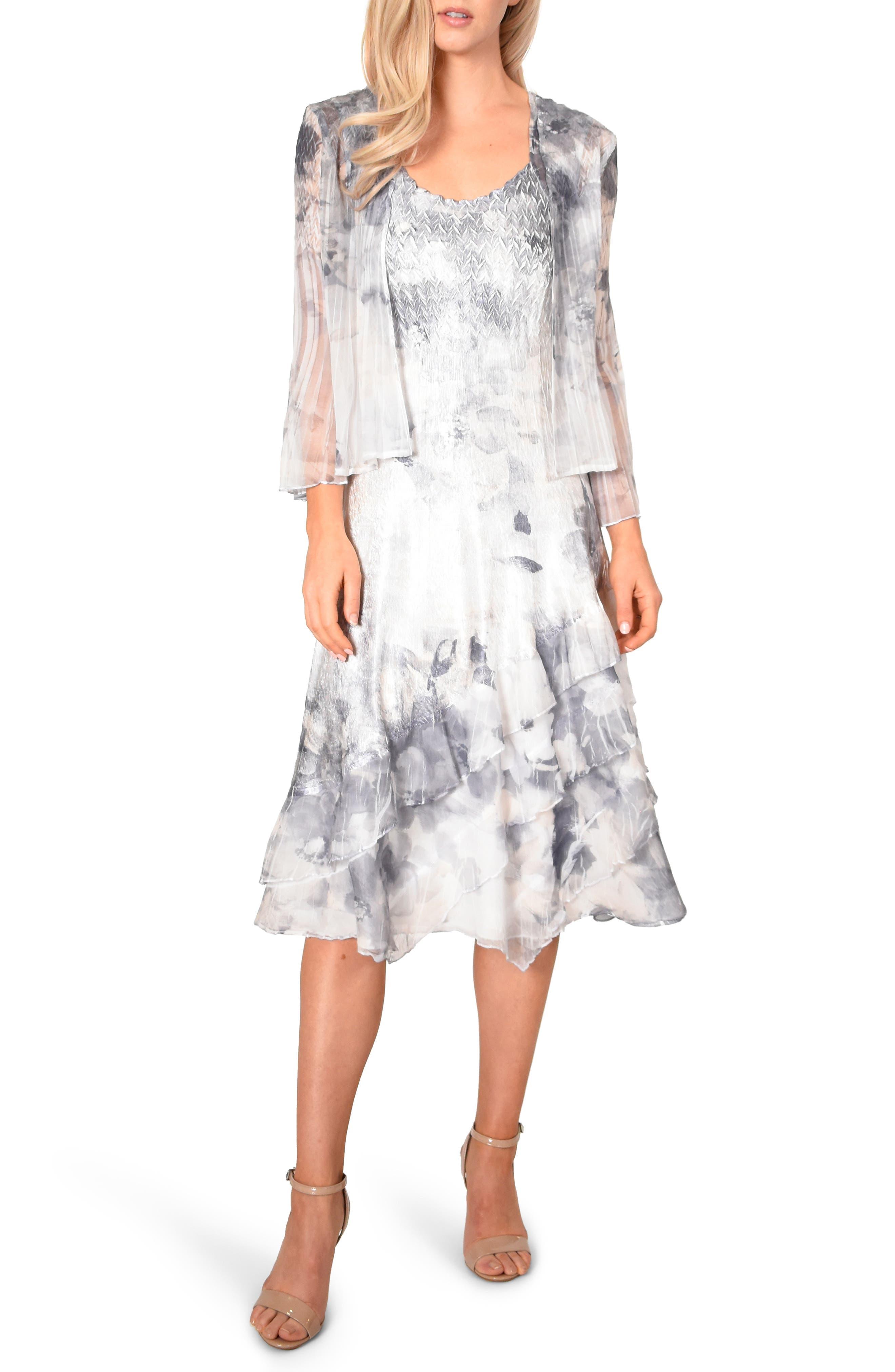 Petite Komarov Floral Charmeuse & Chiffon Dress With Jacket, Ivory