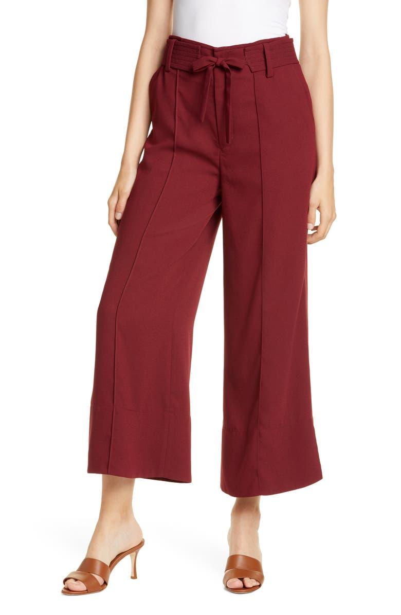 JOIE Djuna Wide Leg Crop Pants, Main, color, GARNET