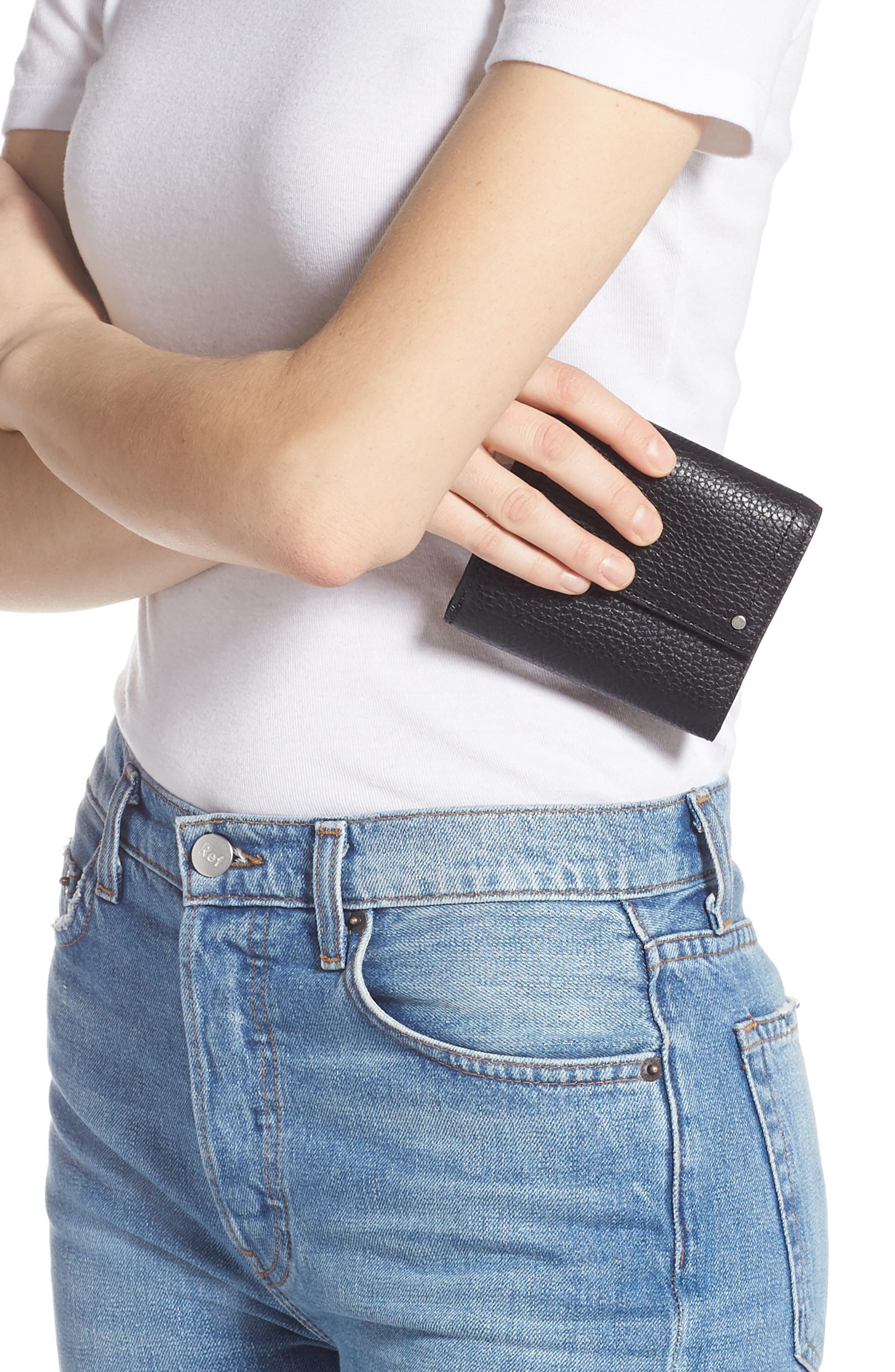 ,                             Tracy Leather Trifold Wallet,                             Alternate thumbnail 3, color,                             BLACK
