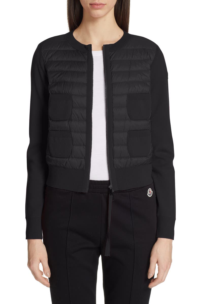 MONCLER Alla Coreana Lightweight Down Front Wool Cardigan, Main, color, BLACK