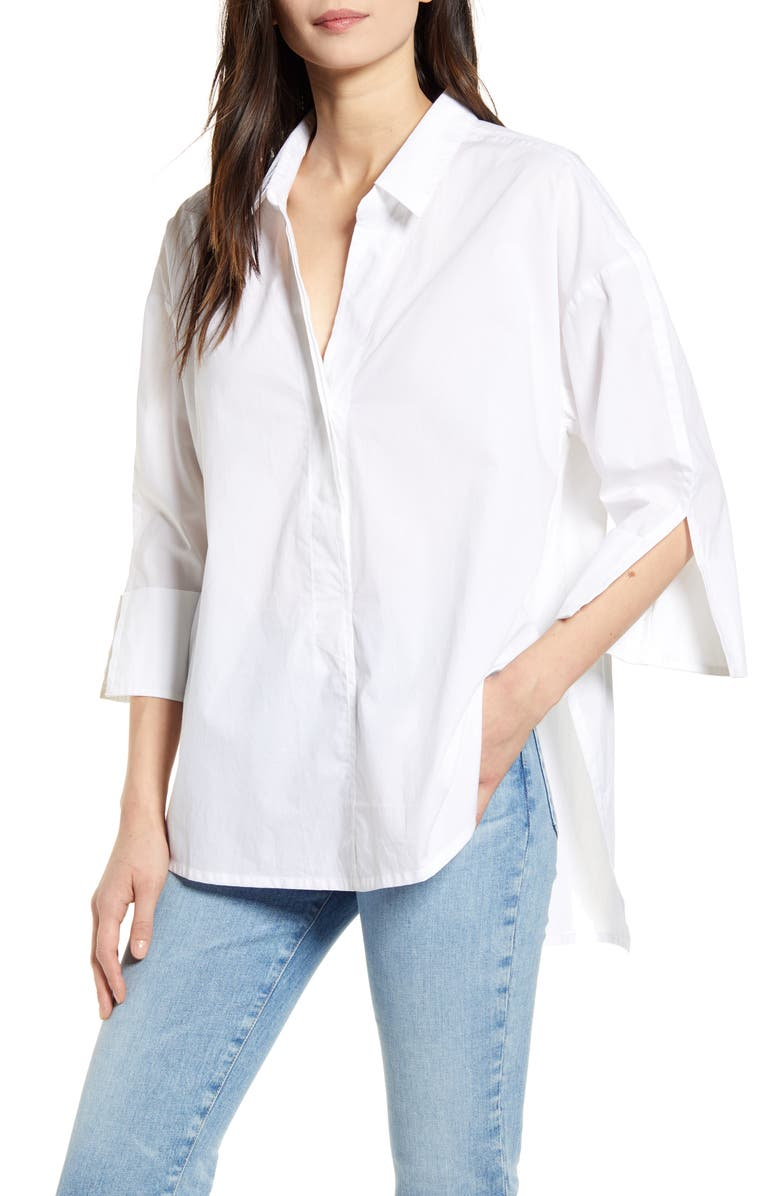FRENCH CONNECTION Aoko Rhodes Poplin Button-Up Shirt, Main, color, 115