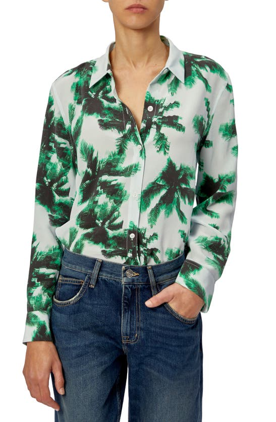 Equipment Leema Palm Print Long Sleeve Silk Blouse In Plein Air Mlt