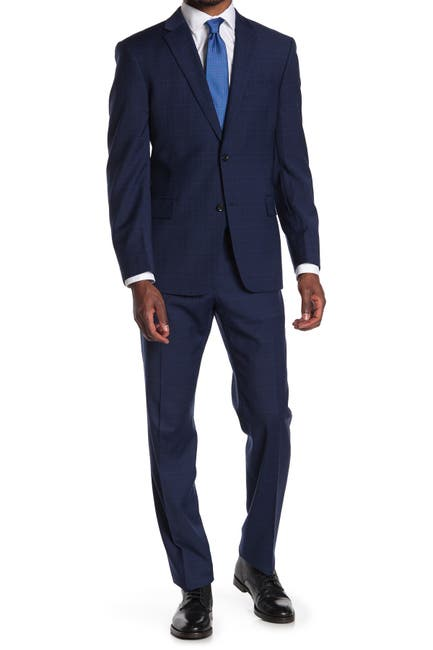 Image of Tommy Hilfiger Blue Plaid Wool Blend Two Button Notch Lapel Slim Fit Suit
