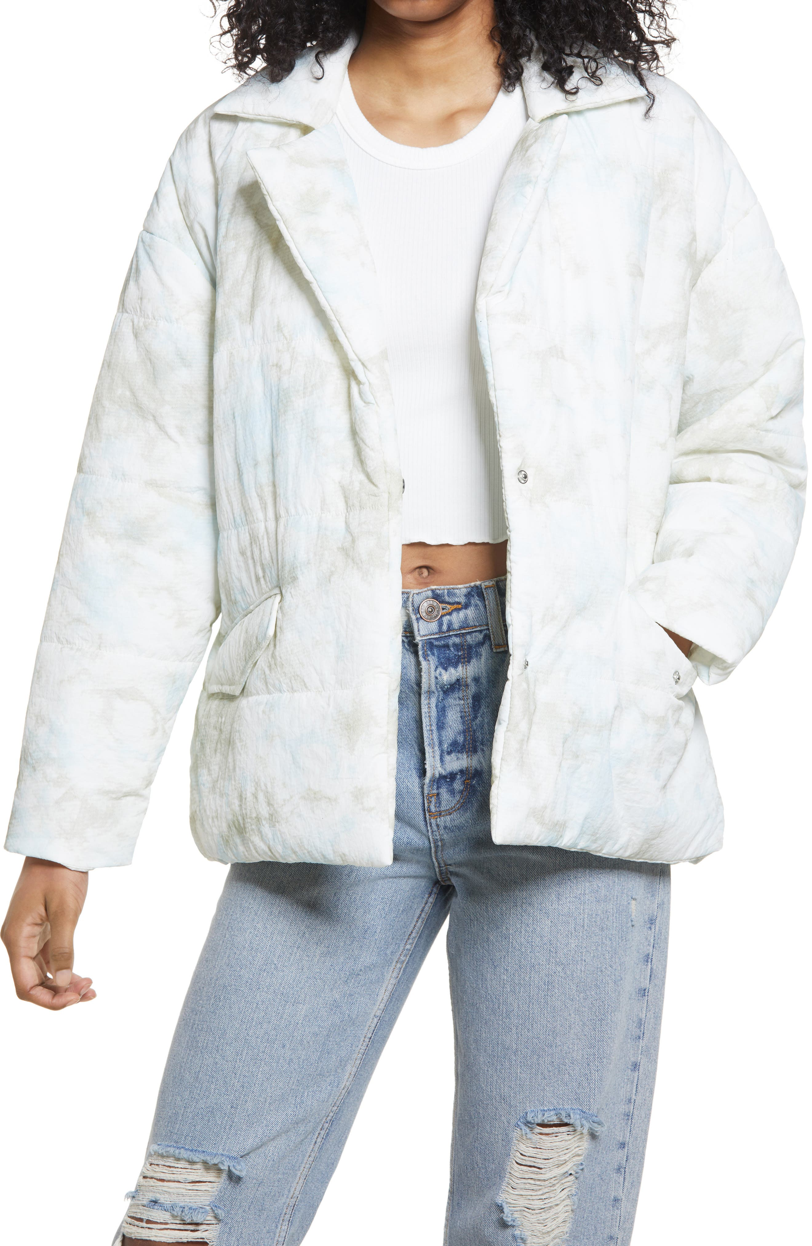 Women's Blanknyc Quilted Wrap Jacket, Size Small - White