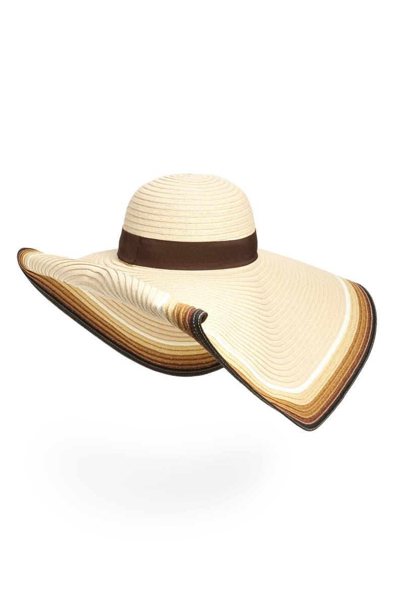 NORDSTROM Ombré Oversize Floppy Hat, Main, color, BEIGE LIGHT COMBO