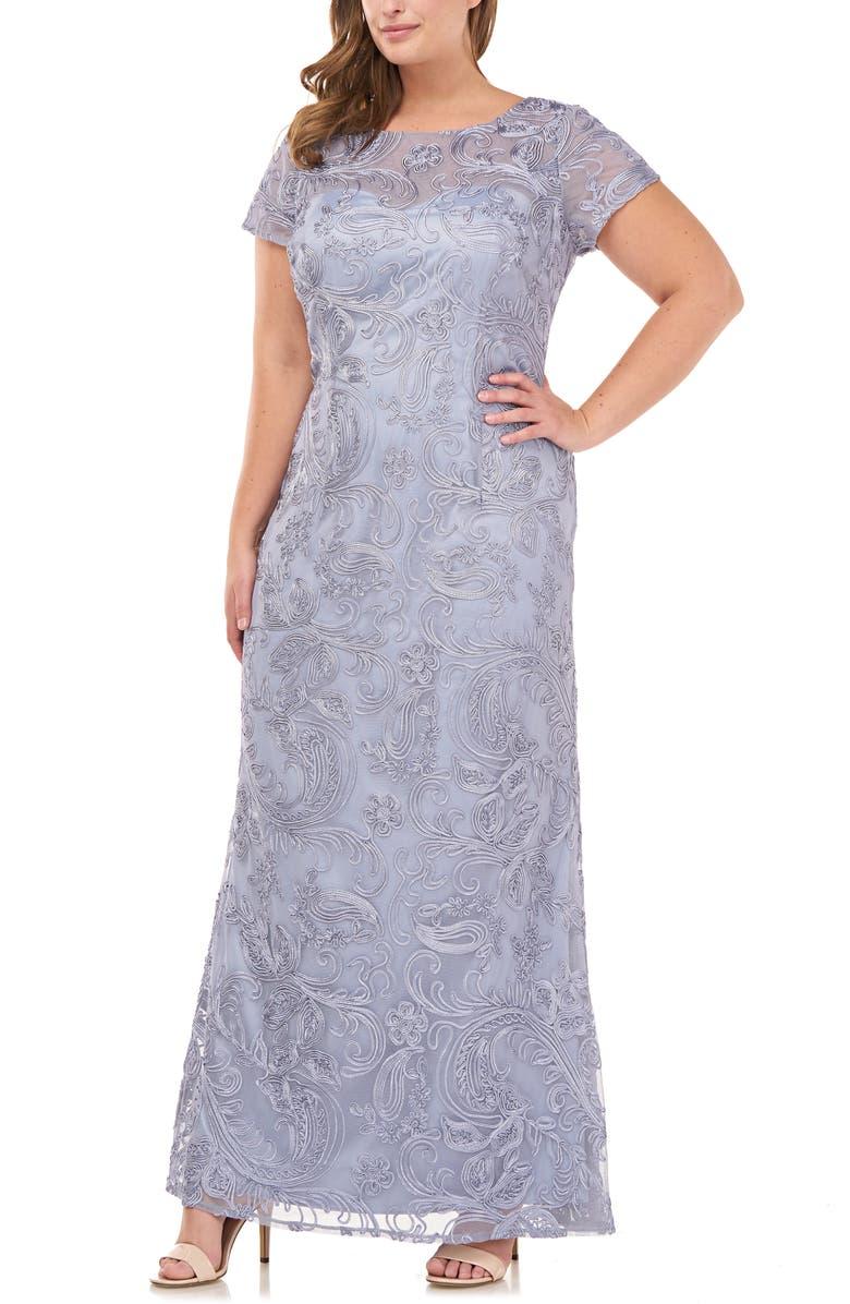 JS COLLECTIONS Soutache Lace Gown, Main, color, SLATE