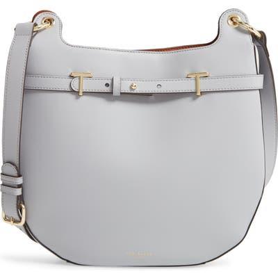 Ted Baker London Cantrel Leather Hobo Bag - Grey