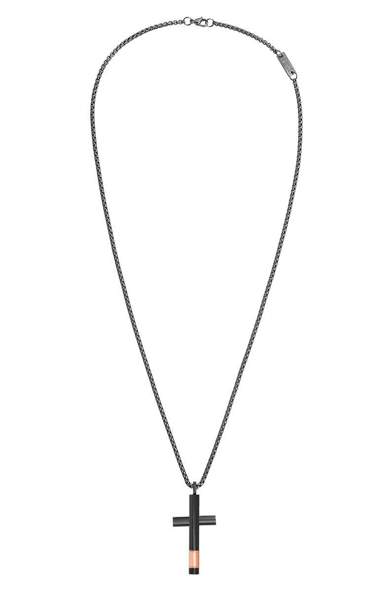 STEVE MADDEN Cross Pendant Necklace, Main, color, 001