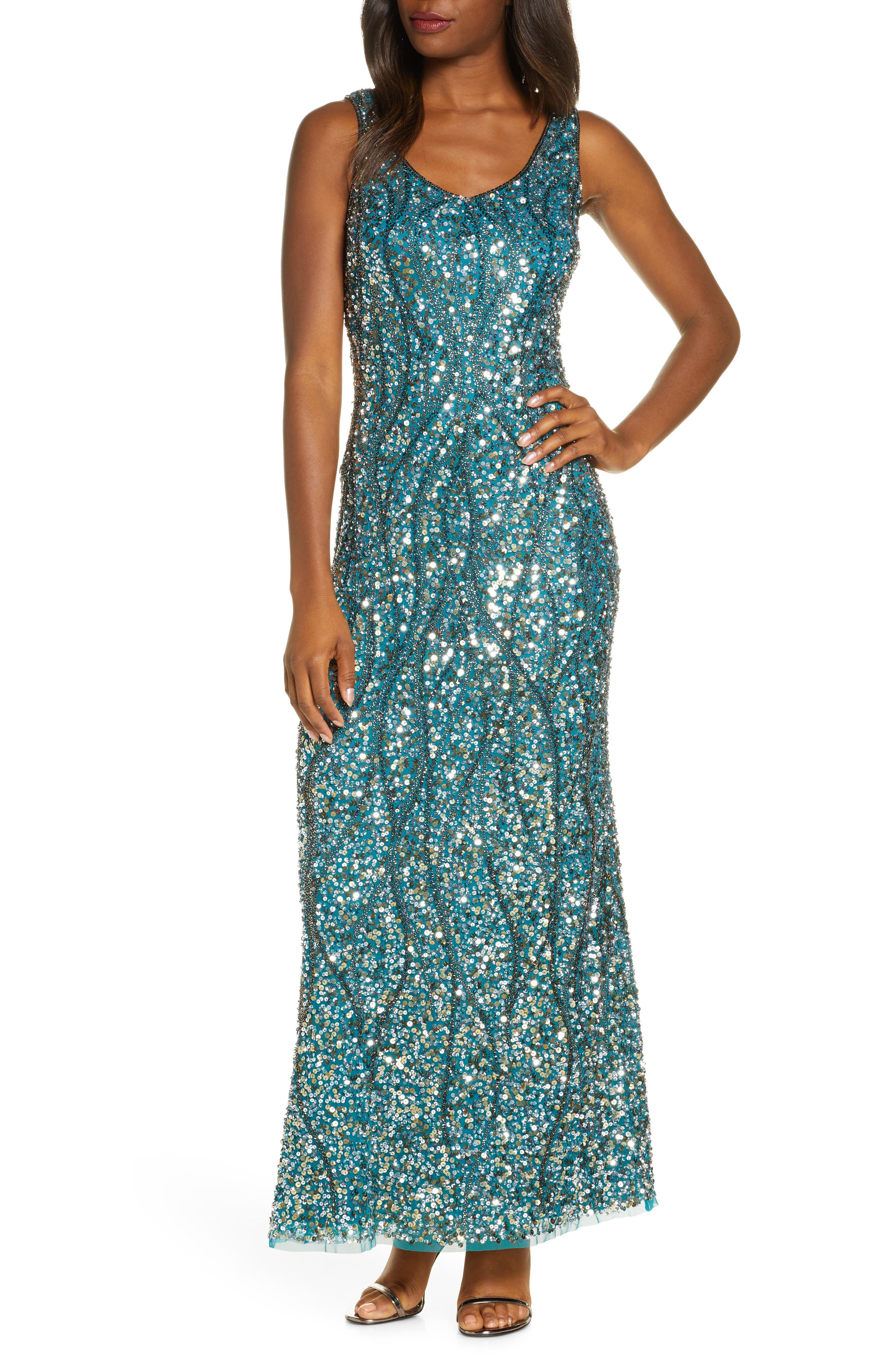 70s Prom, Formal, Evening, Party Dresses Womens Pisarro Nights Sequin  Bead Sleeveless Gown $258.00 AT vintagedancer.com
