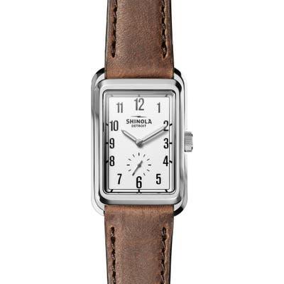 Shinola Omaha Rectangular Leather Strap Watch, 2m X 37Mm