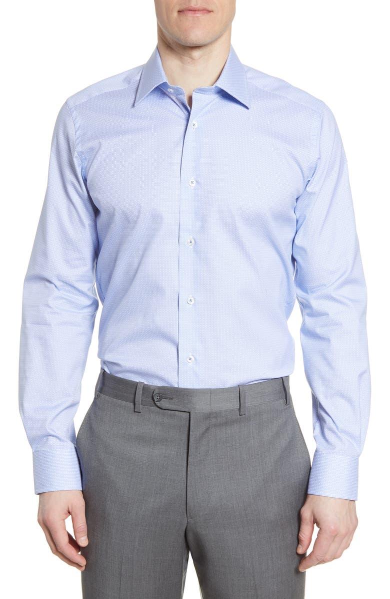 DAVID DONAHUE Trim Fit Geometric Dress Shirt, Main, color, WHITE/BLUE