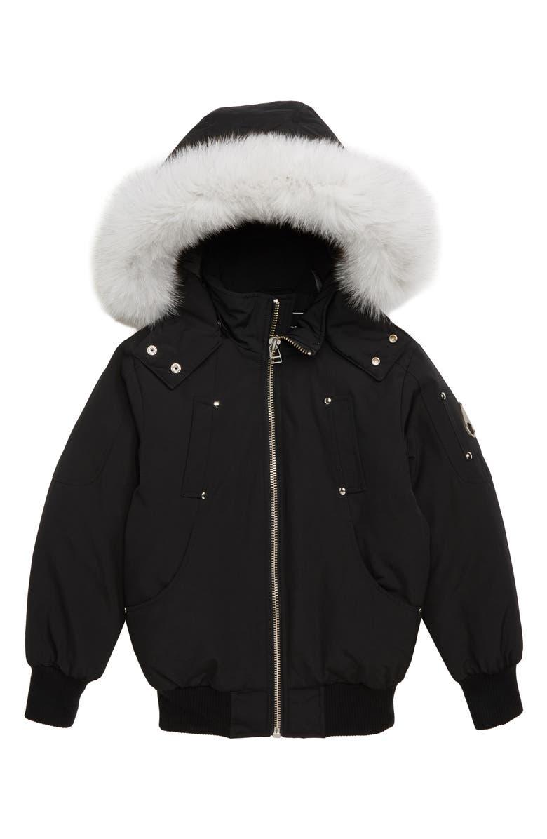 MOOSE KNUCKLES Bomber Jacket with Genuine Fox Fur Trim, Main, color, BLACK