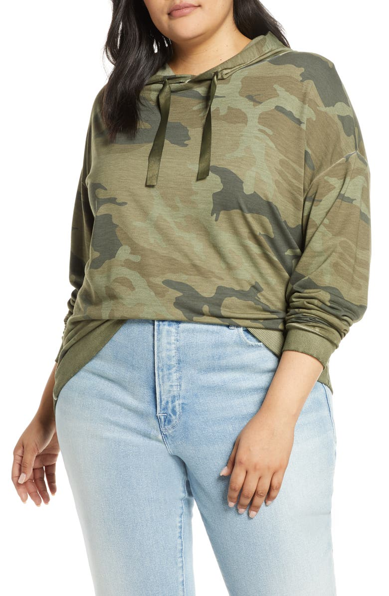 DANTELLE Camo Print Hoodie, Main, color, MILITARY OLIVE
