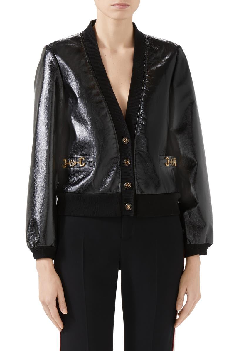 GUCCI Interlocking-G Horsebit Leather Jacket, Main, color, Black
