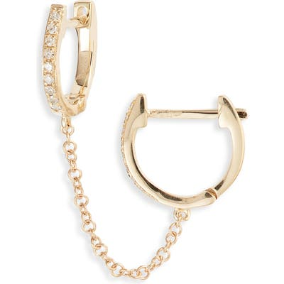 Ef Collection Single Mini Diamond Double Chain Huggie Hoop Earring