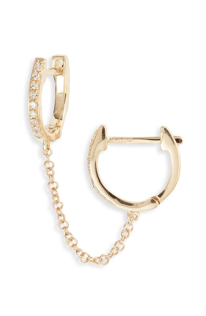 EF COLLECTION Single Mini Diamond Double Chain Huggie Hoop Earring, Main, color, YELLOW GOLD/ DIAMOND