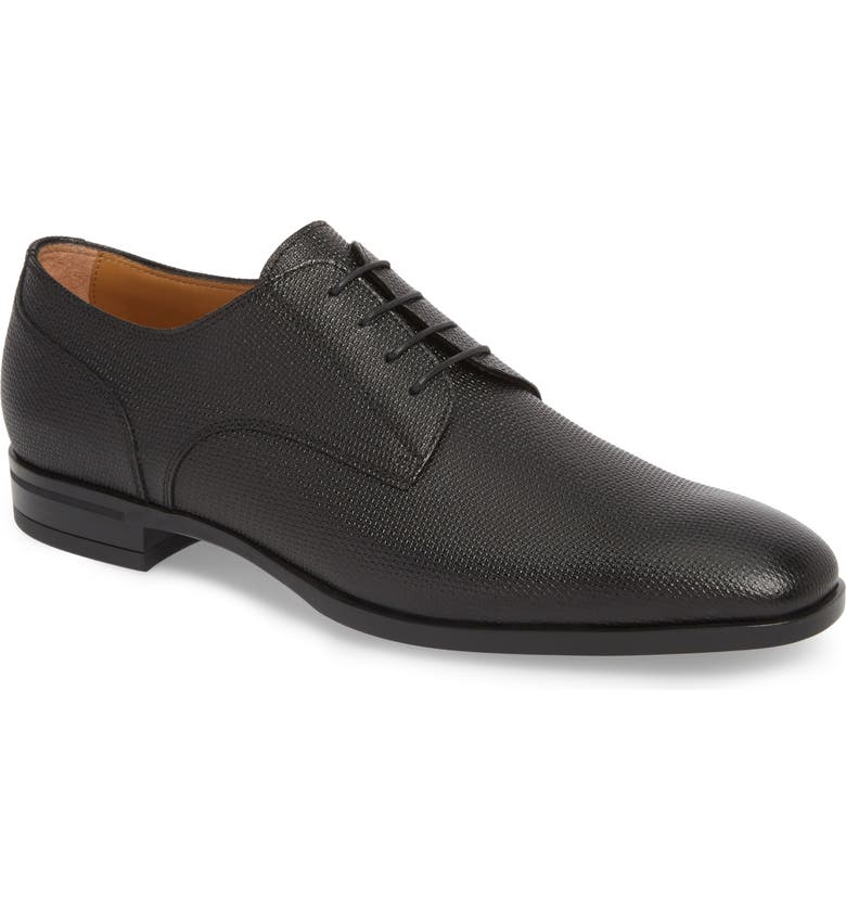 BOSS Portland Embossed Plain Toe Derby, Main, color, BLACK LEATHER