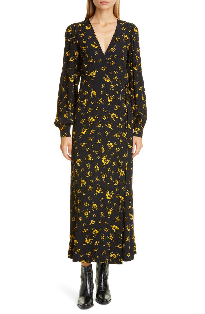 GANNI Floral Print Crepe Long Sleeve Midi Dress, Main, color, BLACK