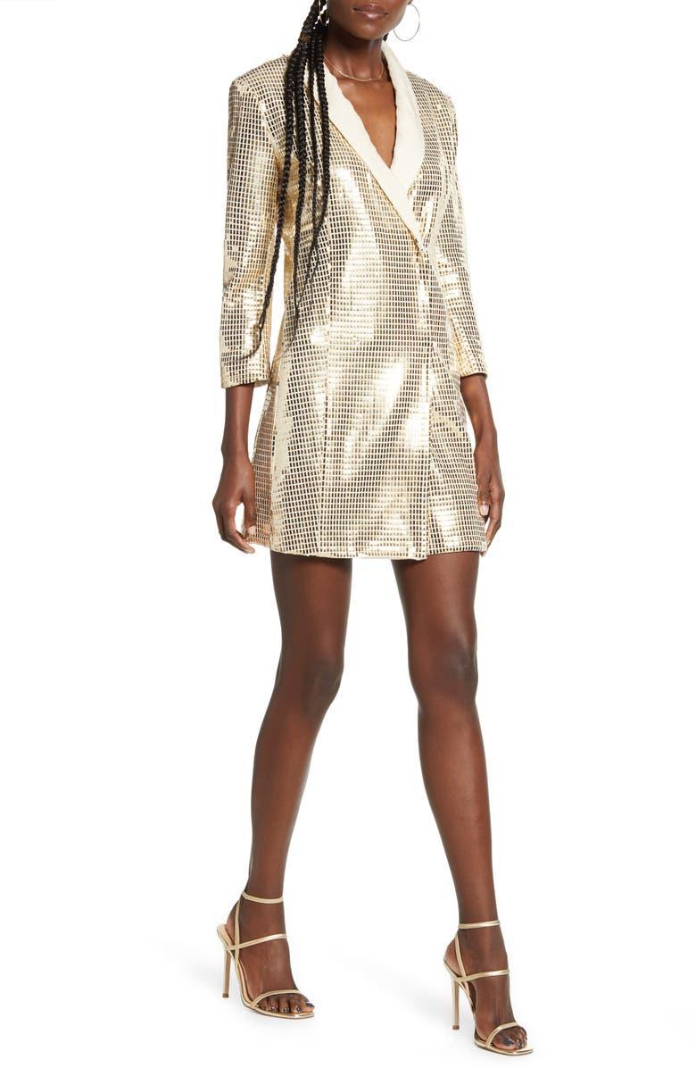 ENGLISH FACTORY Holiday Shimmer Tuxedo Minidress, Main, color, GOLD