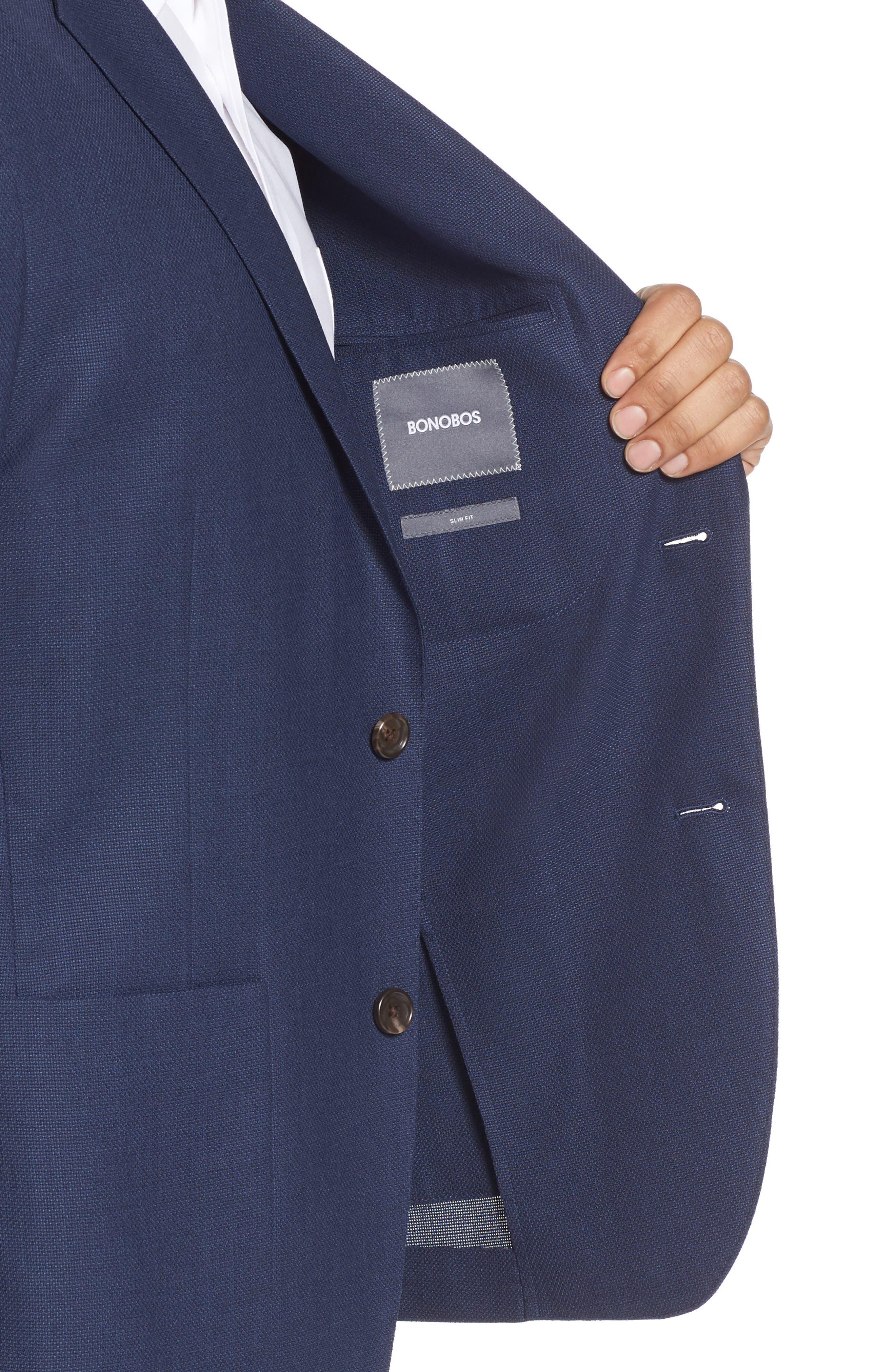,                             Slim Fit Wool Unconstructed Sport Coat,                             Alternate thumbnail 5, color,                             BLUE