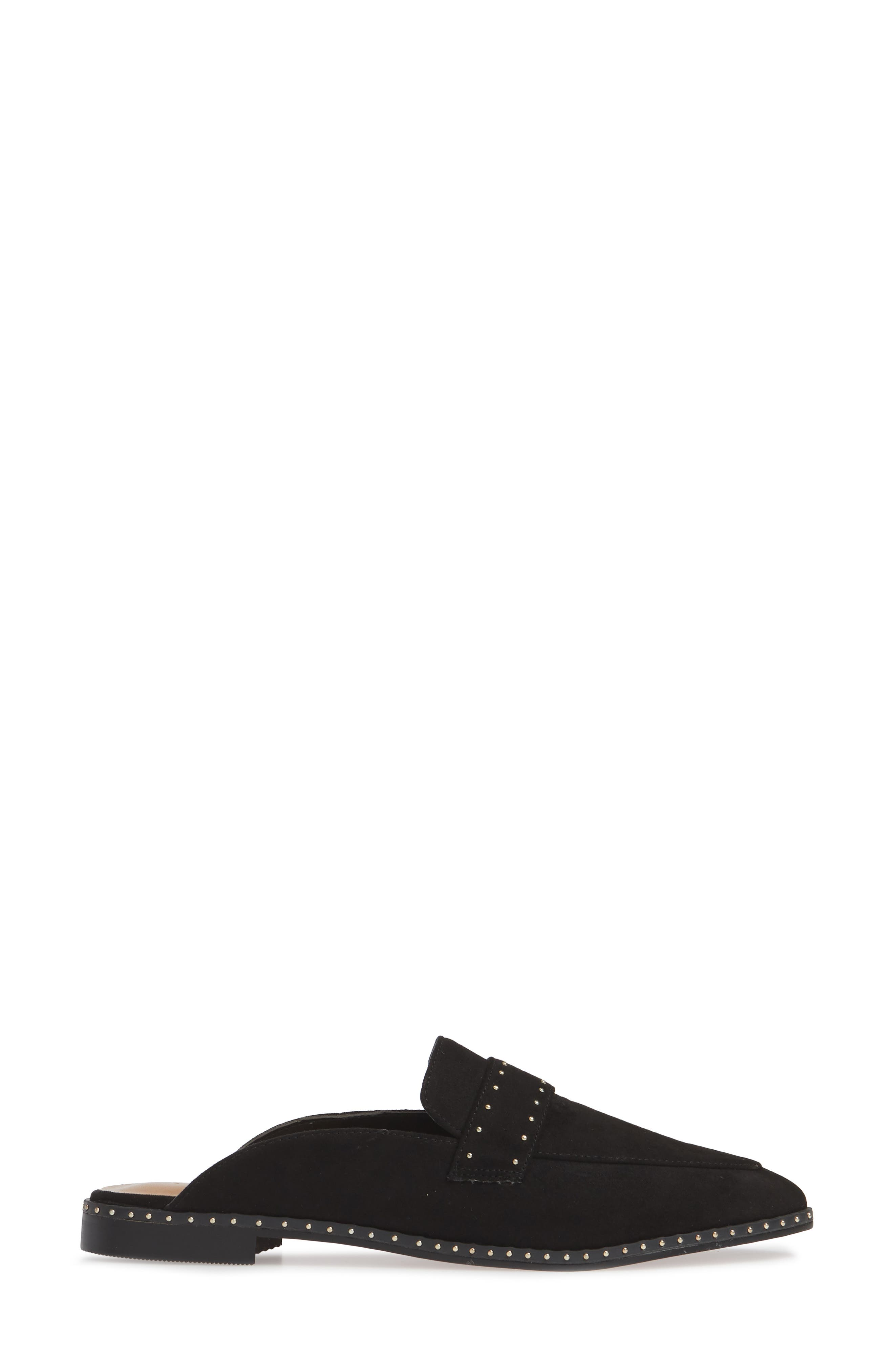 ,                             Lara Studded Loafer Mule,                             Alternate thumbnail 3, color,                             BLACK