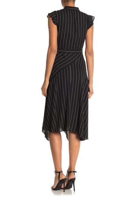 Image of NANETTE nanette lepore Flutter Sleeve Stripe Print Midi Dress